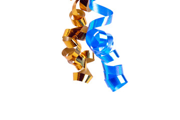 Two golden and blue ribbons  isolated on white background