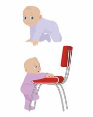 Child creeps and climb