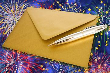 Briefumschlag - Gold - Feuerwerk