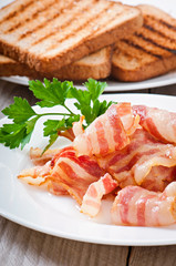 hot fried bacon