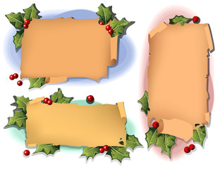 Vector background with antique scroll for Christmas and New yea