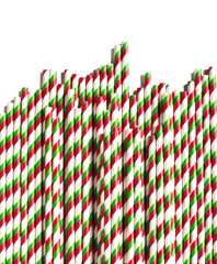 Christmas striped paper straws  isolated on white background