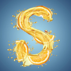 """Water splashes and oranges slice letter """"S"""""""