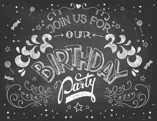 Birthday party invitation on blackboard background