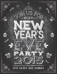 New Year's Eve Party invitation on blackboard background