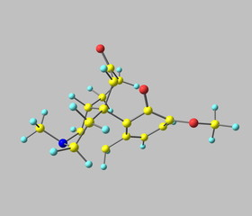 Hydrocodone molecule isolated on grey
