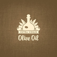 Vector banner with a bottle of olive oil on a cloth background