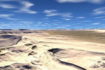 3D rendered fantasy alien planet. Desert
