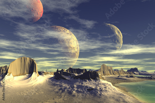 Plakat 3D rendered fantasy alien planet. Rocks and moon