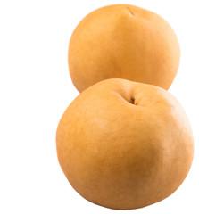 Nashi pear fruit over white background