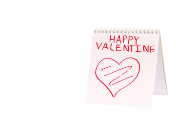 Organizer with Valentine greeting (isolated)