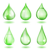 Opaque green drops poster