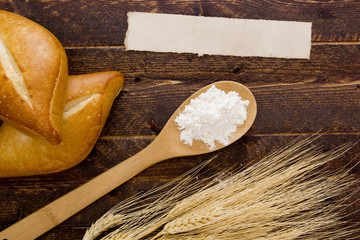 Flour in a spoon and baking