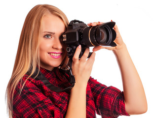Glamour amateur photographer holding a professional camera - iso
