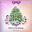 Card with christmas tree and garlands  in vector