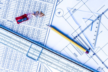 Architectural drawings,  tools for sketching on the table
