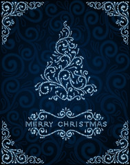 Christmas card with abstract pine tree