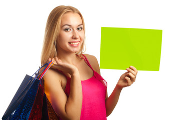 Young woman hold sign card