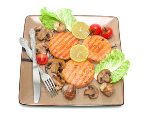 fried medallions of salmon, stuffed snails with mushrooms and ve