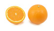 Whole orange and half fruit showing cross section