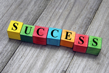 concept of success word on wooden colorful cubes