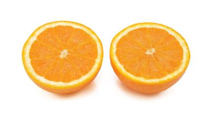 Fresh orange sliced in half