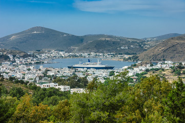 Patmos island scenic view with cruise ship