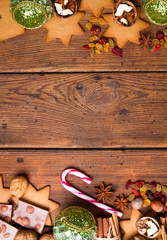 Christmas decoration on brown natural wooden table
