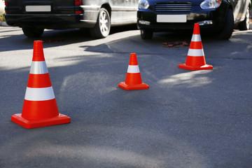 Traffic cone on road