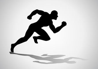 Silhouette illustration of a man figure off to a fast start