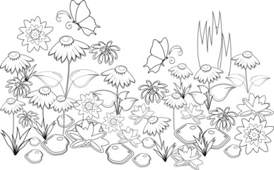 Coloring with flowers and butterflies