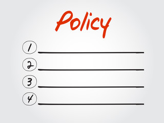 Hand drawn blank Policy list, chart shapes vector concept