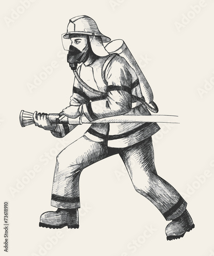 Sketch illustration of a firefighter