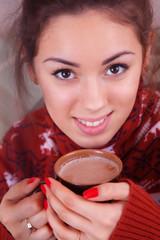Girl drinking cocoa