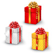 Gift box set, isolated on white for Birthday, Christmas