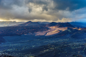 Dramatic light over volcanic lifeless terran