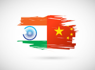 india and china flag illustration design