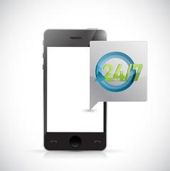 phone 24 7 service message illustration