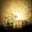 canvas print picture - Christmas surprise gift box or present, exploding with glitters