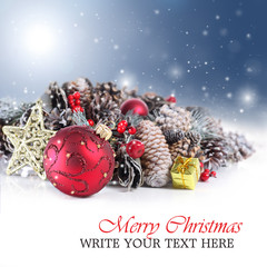 Festive Christmas or holiday background with ornament