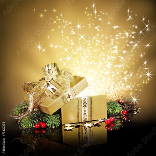 canvas print picture Christmas surprise gift box or present, exploding with glitters