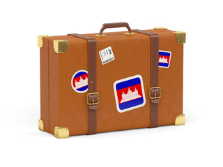 Suitcase with flag of cambodia
