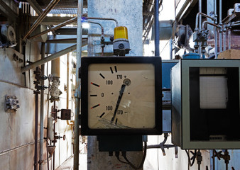 Old measuring instrument in an abandoned factory
