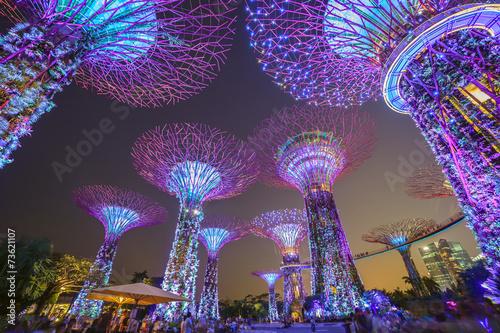 Aluminium Singapore night scene at Singapore city