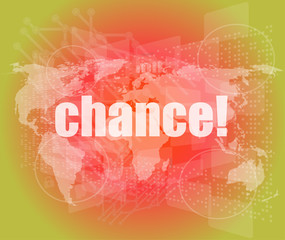 chance text on digital touch screen interface