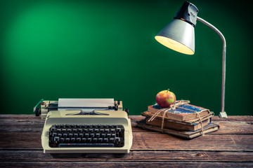 Lamp and typewriter in the classroom
