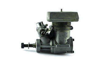 Used Rc helicopter engine on white background