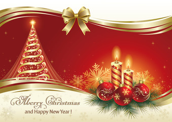 Christmas greeting card with Christmas tree and candles