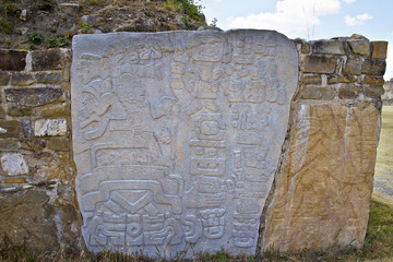 Carved stones of the ruins of Monte Alban, Oaxaca, Mexico