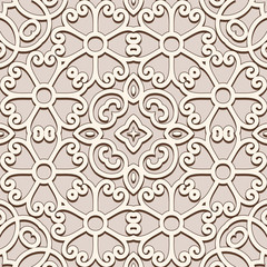 Vintage beige ornament, seamless pattern